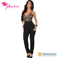 Sexy Cheap Lace Top Cross Straps Backless Jumpsuit