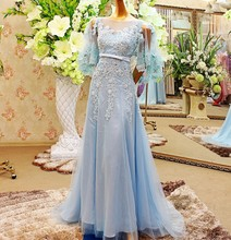 Real Sample A-line Lace Bead Embroidered Islamic Evening Dress for Muslim