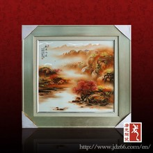 Beautiful design red mapple pattern house wall decoration use ceramic art painting for best sale
