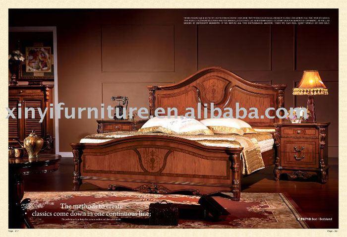 Clásica de madera de la cama king size FA718