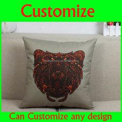 Various animal designs wolf/shark/koala/bear/jellyfish/recoon pattern nature linen outdoor pillow, outdoor pillow cases
