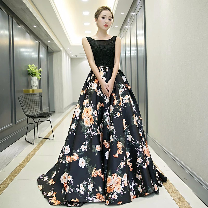 Black Ball Gown Long Sleeveless Printed High Quality Chiffon Evening ...