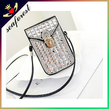 crystal stone cell phone bag with long shoulder strap