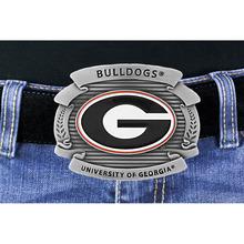 "University Of Georgia ""Bulldogs"" Logo Silver Tone Belt Buckle"