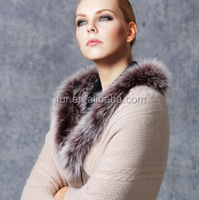 Star Loves 100% Genuine Cashmere wool Scarf Shawl Real Fox Fur Trim Evening Party