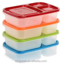 2015 Hot Sale 3 Compartment Bento Lunch Box and food Container/Plastic lunch box/Plastic food storage container good design