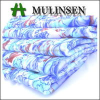 Mulinsen blue floral printing velvet 97%polyester 3%spandex recycled polyester fabric