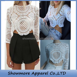 Style Number T035 hollow out white crochet top