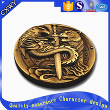 Custom round 3D Brass Coin carved with dragon tiger eagle for war