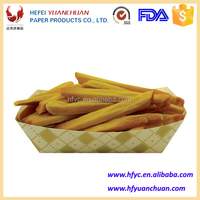 Disposable boat shape paper food tray for fried chips and sauce
