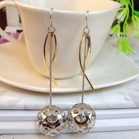 South Korea 14k Gold Plated Hollowed Ball Earrings
