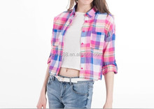 Customize White School t shirts china colorful plaid crop top t shirt for women