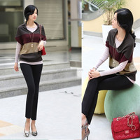 2015 new women loose knit bat trade large size pullover Gold Supplier