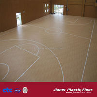 Sports pvc flooring with wood pattern for vinyl basketball court
