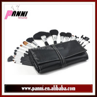 Best makeup brush 24pcs goat,nylon hair brushes for beauty make up in black protective pouch