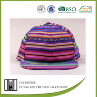 BSCI Audit purple striped polyester fashion fitted baseball cap