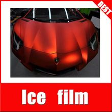 TSAUTOP top quality ROHS Certificate 1.52*20m air free bubbles channel RED matte chrome vinyl for car wrap
