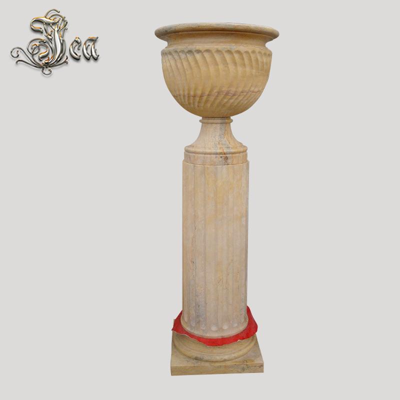 Nefis el oyma dekoratif bahçe çömleği mermer saksı