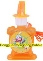 alarm clock shape bubble bottle,plastic bubble bottle,whistle bubble