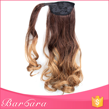 24inch Kinky Straight Two Tone Black Blonde Wrap Around 100% Virgin Human Hair Accessories Ponytail Hairpieces Wigs