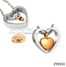 Gold Heart Pendant Necklace, Friendship Gold and Silver Heart Necklace