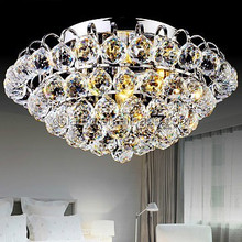 Round wonderful crystal ball ceiling lamp silver LED ceiling crystal light