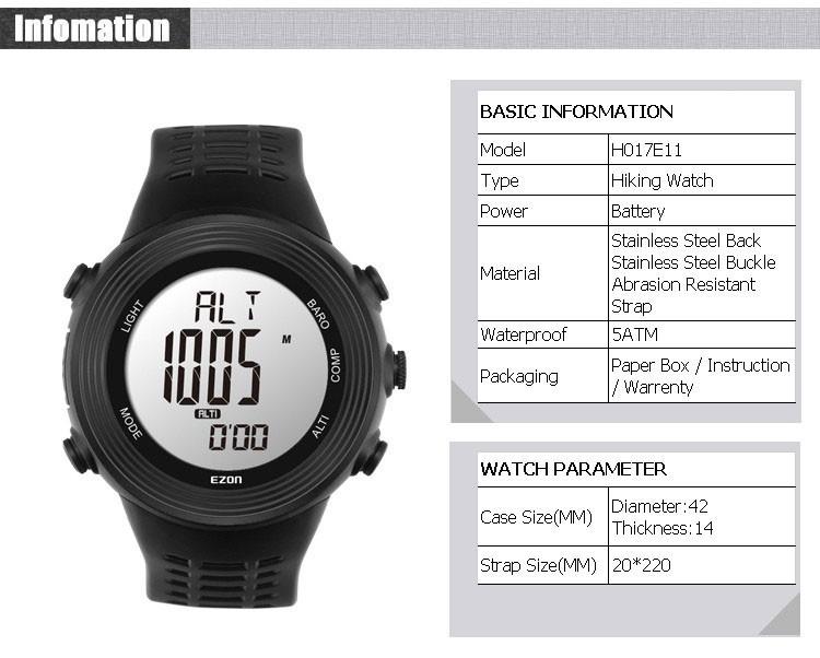 Ezon часы H017 50 М Водонепроницаемый Открытый Восхождение многофункциональные Цифровые Часы для Мужчин