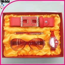 2015 new design promotion pretty leather gift set for women with pen, belt ,watch,sunglass