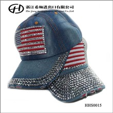 Factory wholesale fashion crystal rhinestone cowboy USA flag baseball hat