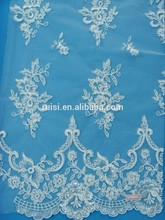 Moda bordado con cuentas telas perla de lentejuelas con cuentas tela de encaje SBY61620CB