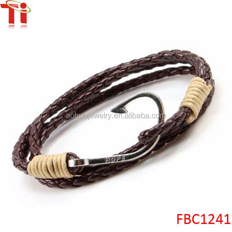 Mens multilayers leather hope fish hook wrap bracelet for Mens fishing bracelet