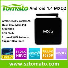 Cheapest Android TV Box Amlogic S805 Quad Core Android Tv Box 1080p Full HD Media Metal Case H.265 XBMC Set Top Box MXQ2