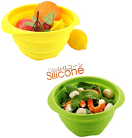 Wholesale Kitchen Folding Mesh Strainer Vegetable Collapsible Silicone salad bowl