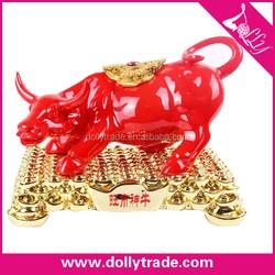 golden resin decorative bull statue for desk