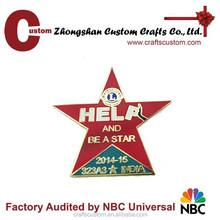 Custom star shape metal lapel pin/lions club badge