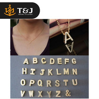 >>2015 fashion hot sale Stylist DIY Women Men Lovers Gift Gold Plate Alphabet Letter Name Initial Chain Pendant Necklace //