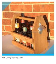 Custom unfinished wooden carriers 6 bottles beer carrier pine wood beer tote