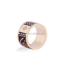Wholesale New Products Scarf Ring Metal Alloy Unisex Enamel Band Ring