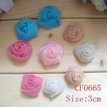 Promotion cheap handmade vintage bling bling3cm rosette small rose organza fabric flower