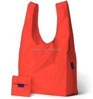 Custom Orange Reusable Folding Shopping Bags Polyester Foldable Shopper Bag