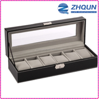 6 slot MDF leather PU watch case from CN