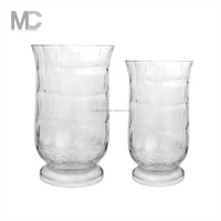 Home Elements Large Ragged Clear Glass Hurricane Candle Holders