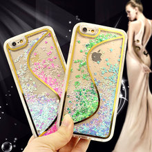 Newest transparent plastic bling 3D S line design quicksand case for iphone 6 6S tpu back cover