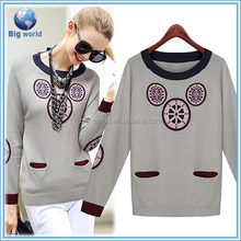 European and American style fashion 2015 women sweater long-sleeved round collar pullovers