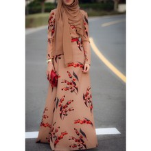 Latest Abaya Designs 2015 New Model Long Sleeve Fresh Cherry Printed Abaya