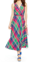 Classic Women Plaid Wrap Maxi dress with Fully Lined Ladies Long Frocks