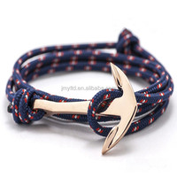 Competitive price making rope bracelet watch alloy anchor handmade anchor nautical rope smart bracelet 2015