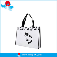 White Waterproof Cardboard Shopping Bag with Cat Printing