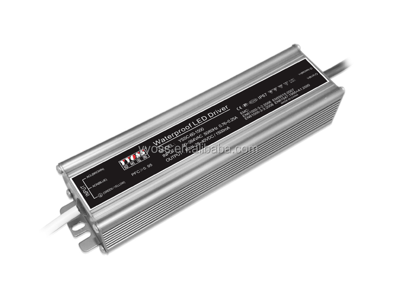 PFC(0.98) 60w 700ma - 2400ma constant current waterproof led driver