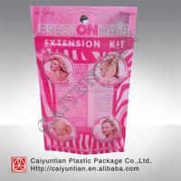 hair extensions packing plastic bags, hair extension package bag,custom plastic packaging bags for hair extensions